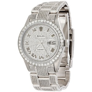 Rolex Mens Rolex Date just 36mm Fully Iced Diamond Watch Oyster 9.50 Ct