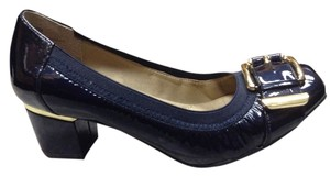 Me Too Blue Patent Gold Buckle Navy Pumps