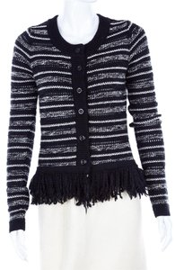 Rachel Roy Fringe Striped Cardigan Knit Sweater