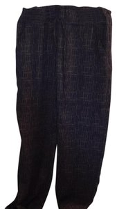 CAbi Trouser Pants navy and white print