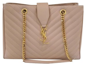 Saint Laurent Monogramme Quilted Classic Pink Ysl Tote in Blush/Light Pink