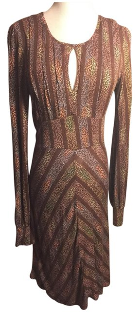 Item - Brown/Blue/Pink/White Brown/Mylti-color Print Mid-length Work/Office Dress Size 8 (M)