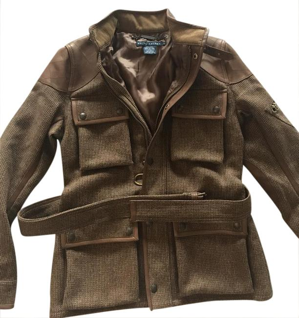 Item - Brown Wool & Leather Jacket Size 4 (S)