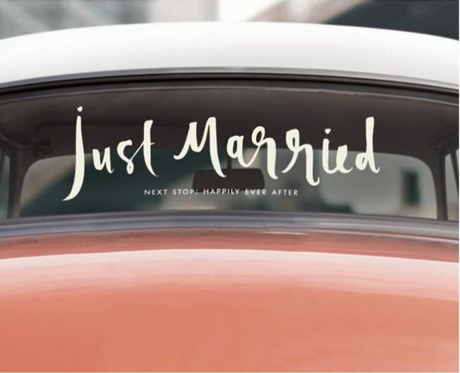 Item - White Just Married Car Decal