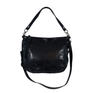 Coach Crinkled Patent Leather Cross Body Strap Rare Tote in Black