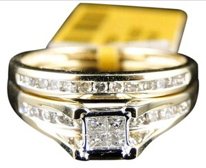 Other YELLOW GOLD LADIES PRINCESS CUT BRIDAL ENGAGEMENT RING BAND 1/2 CT