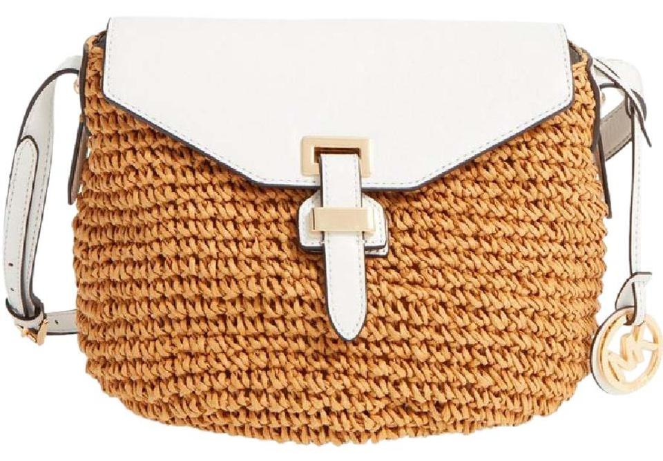 1b029c55ac7cdd Michael Kors Naomi Optic Medium White & Straw Leather Messenger Bag ...