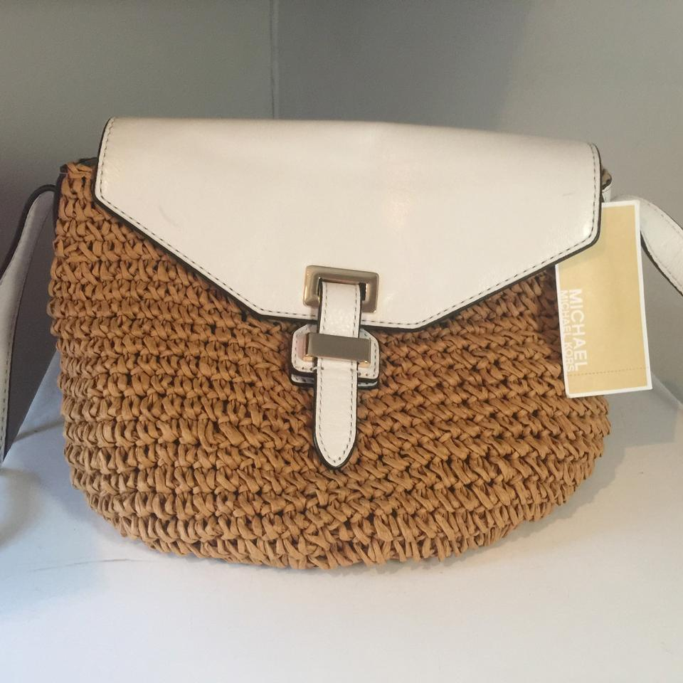 63cdcdfc5 Michael Kors Naomi Optic Medium White & Straw Leather Messenger Bag ...