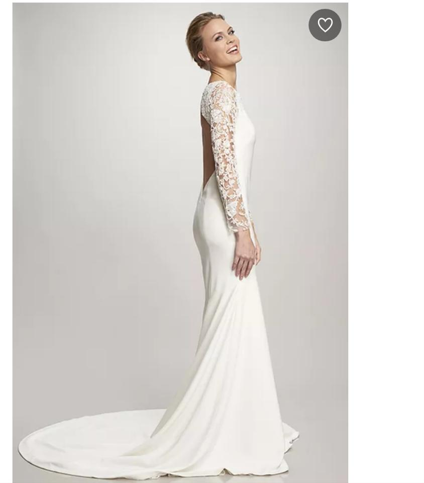 3f1154f1ee428 Theia White Silk Crepe Vanessa Open Back Long Sleeve Feminine Wedding Dress.  Street Size  ...