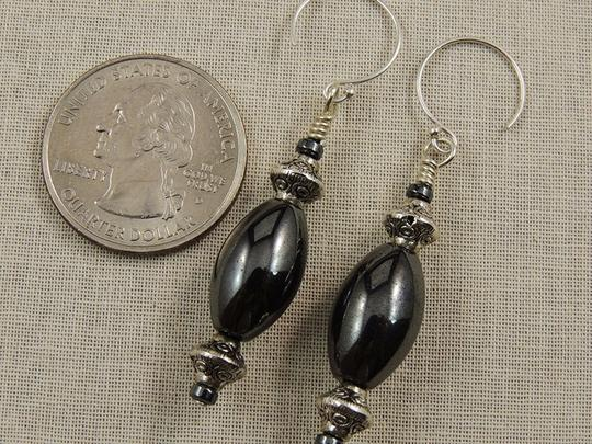 Handmade Sterling Silver Hematite Gothic Style Earrings