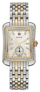 Michele Brand new authentic Deco Moderne II 16 Diamond Two-Tone Dial Watch