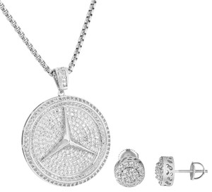 Other Luxury Car Logo Pendant Cluster Halo Earrings Combo Set Free Necklace
