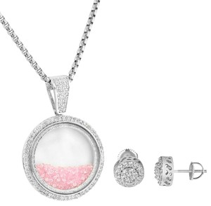 Other Pink Floating Stones Glass Pendant Earrings Combo Simulated Diamonds