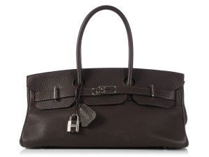 Hermès Hr.k1123.06 Clemence Leather Palladium Satchel in Brown