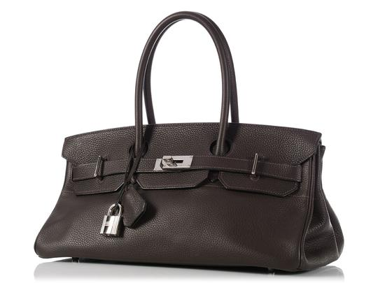 Hermès Hr.k1123.06 Clemence Leather Palladium Satchel in Brown Image 1
