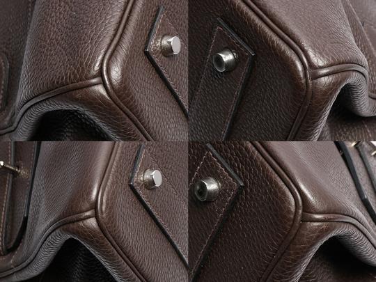Hermès Hr.k1123.06 Clemence Leather Palladium Satchel in Brown Image 10