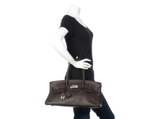 Hermès Hr.k1123.06 Clemence Leather Palladium Satchel in Brown Image 11