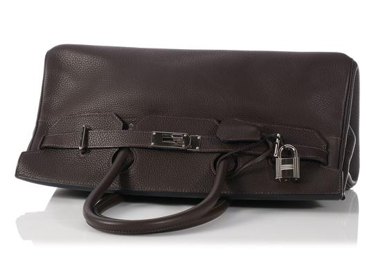 Hermès Hr.k1123.06 Clemence Leather Palladium Satchel in Brown Image 3