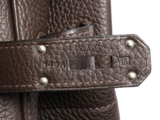 Hermès Hr.k1123.06 Clemence Leather Palladium Satchel in Brown Image 7