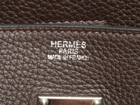 Hermès Hr.k1123.06 Clemence Leather Palladium Satchel in Brown Image 9