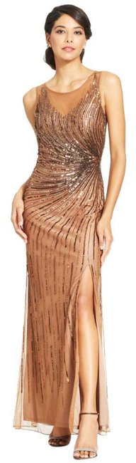 Item - Bronze Illusion Embellished Cut-out Back Gown Long Formal Dress Size 10 (M)