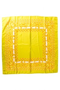 Chanel Chartreuse Gold Chain Link Print Scarf