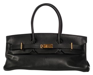 Hermès Hr.k1017.07 Clemence Leather Noir Ghw Satchel