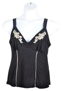 California Dynasty Embroidered Floral Light Top Black & White