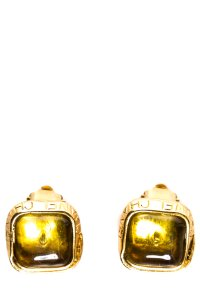 Chanel Stone Gold & Yellow Glass Stone Earrings