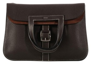 Hermès Hr.k1012.01 Brown Clemence Leather Convertible Cross Body Bag