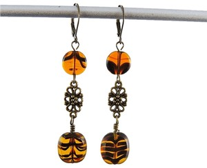 Handmade Antiqued brass Tiger Print Dangle earrings