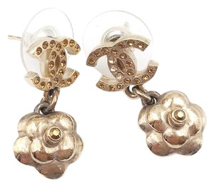 Chanel Chanel Bronze CC Gold Crystal Flower Piercing Earrings