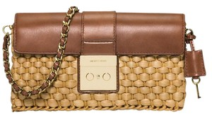 Michael Kors straw & brown Clutch