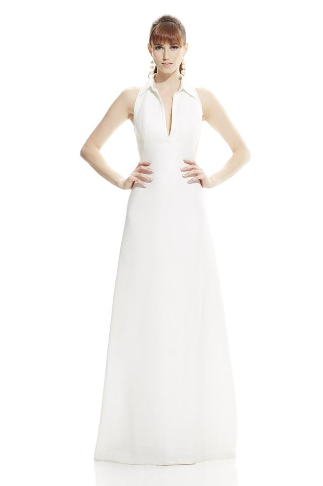Theia Ivory Sleeveless Deep V-neck with Polo Collar 882827 Modern ...