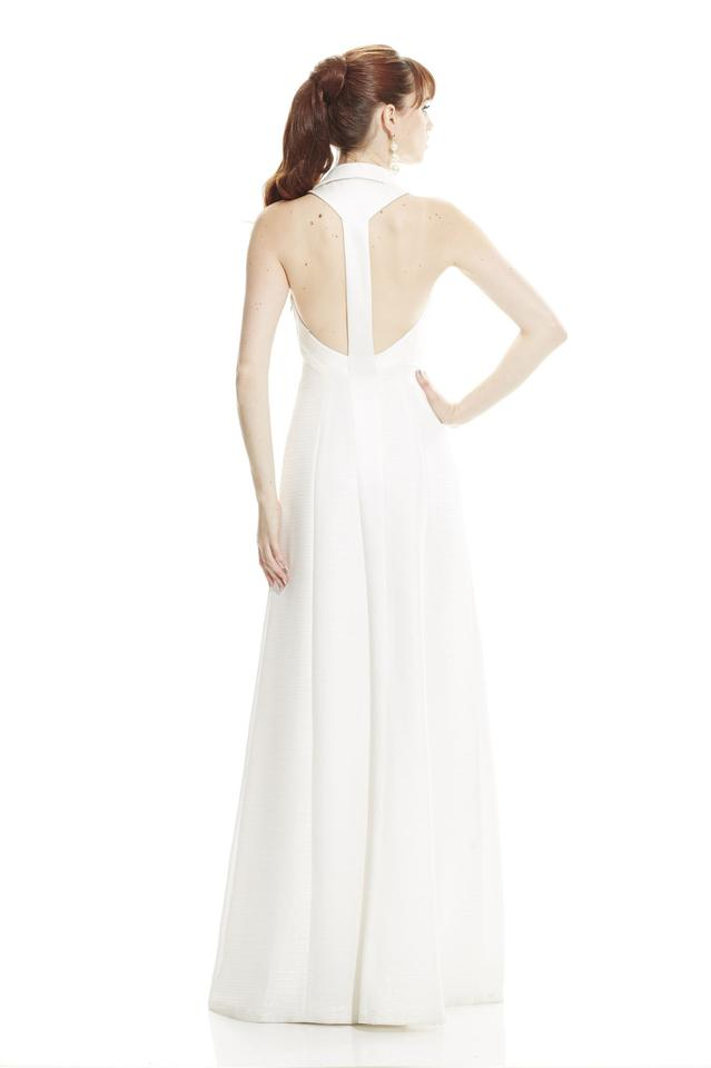 ebb0b992d63c3 Theia Ivory Sleeveless Deep V-neck with Polo Collar 882827 Modern Wedding  Dress Size 10. 1234