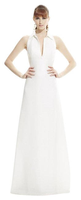 Item - Ivory Sleeveless Deep V-neck with Polo Collar Jacquard A-line Gown Long Formal Dress Size 10 (M)