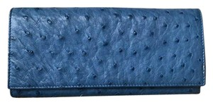 Prada Prada Blue Ostrich Leather Double Snap Wallet