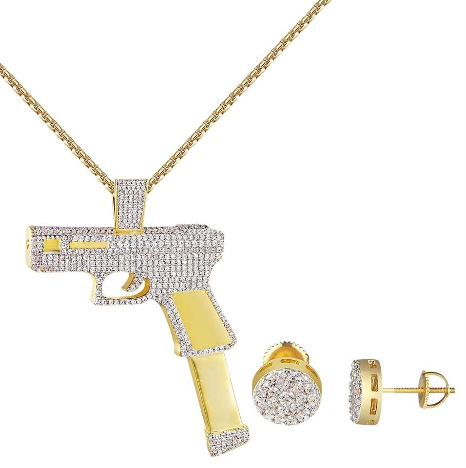 Gold finish 14k gun charm iced out pendant necklace iced out combo other 14k gold finish gun charm iced out pendant necklace iced out combo set mozeypictures Images