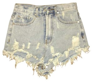 UNIF Jean Offs Cut Off Shorts Light Wash