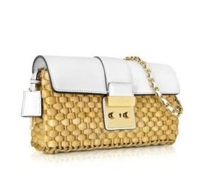 Michael Kors straw & white Clutch