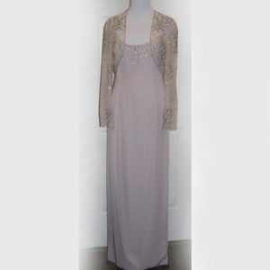 Bob Mackie Pale Rose Blush Pink Silver Branches Evening Gown With Sheer Jacket Dress