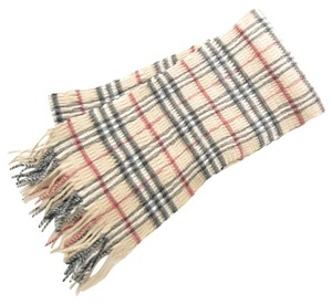 Burberry Burberry Cashmere and Wool Ruched Check Fringe nova scarf