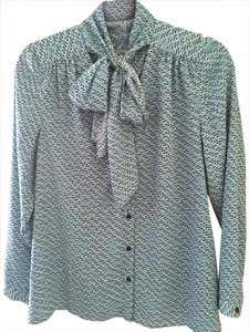 Halogen Tie-neck Nordstrom Top Teal with black and white