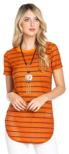 Other Boutique Short Sleeve Stripes Top Orange / burnt orange