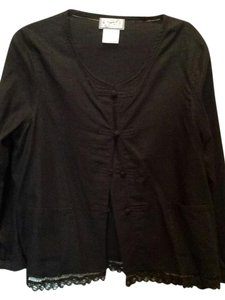April Cornell Linen Frog Closings Spring/Summer Patch Pockets Lace Trim Black Blazer