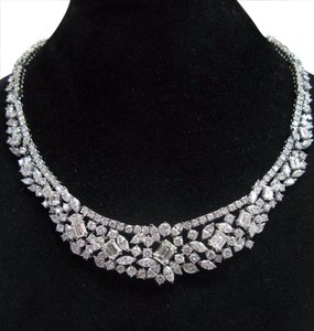 Other 18KT Multi Shape Diamond Tennis Graduated Necklace WG 35.26CT