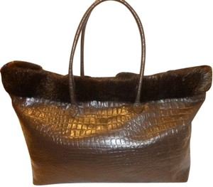 Terrida Refurbished Genuine Fur Leather Tote in Brown