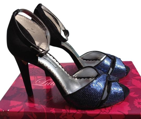 Lulu Townsend Sequined Blue Pumps