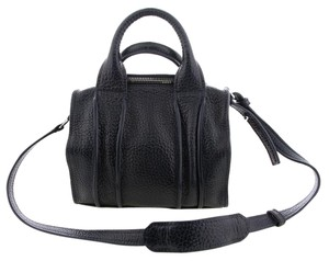 Alexander Wang Leather Luxe Pebbled Leather Satchel in Navy Blue