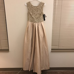 Aidan Mattox Light Gold Taffeta Beaded Bodice Gown Dress